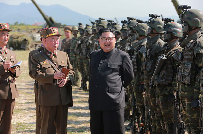 Kim Jong-Un presiding over a target strike exercise conducted by the special operation forces of the Korean People's Army (KPA) at an undisclosed location