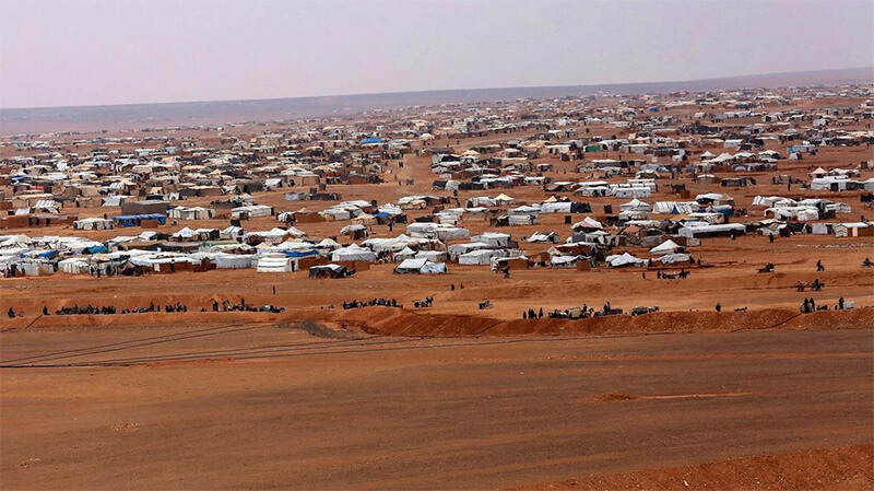 Overview of Al Rukban camp, between the Jordan and Syria borders. AP