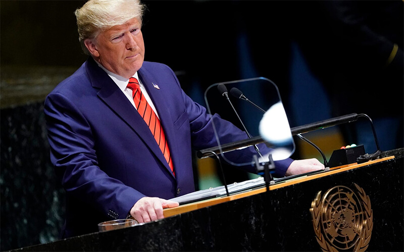 Donald Trump, addressing the United Nations on Tuesday (photo telegraph.co.uk)