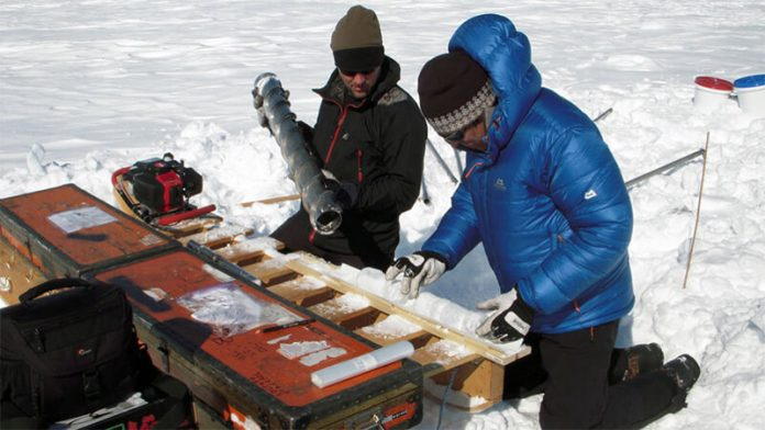 Ice cores drilled in 2012 into the Greenland ice sheet revealed large, meters-thick ice slabs beneath the snow (photo Science News)