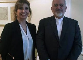 Sharmine Narwani in Vienna during final round of Iranian nuclear negotiations with the P5. Iranian Foreign Minister Javad Zarif. July 2015. (photo Salon)