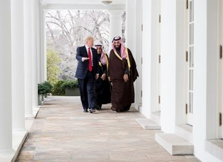 President Donald Trump and Mohammed bin Salman at White House, March 14, 2017. (photo White House/ Shealah Craighead)